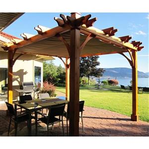 Pergola Breeze avec toit rétractable, 8'x10', cèdre naturel
