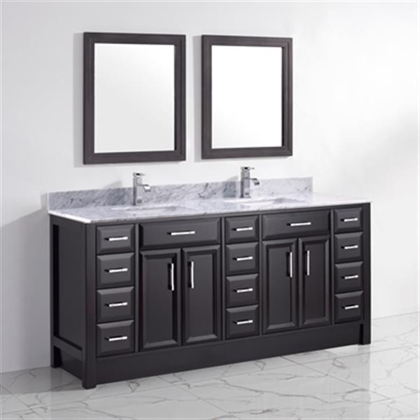 """Meuble-lavabo avec miroirs Calumet, 2 lavabos, 75"""", noir/expresso"""