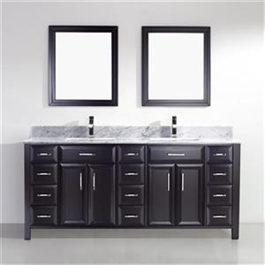 "Spa Bathe Calumet Bathroom Vanity with 2 Mirrors - Double Sink - 75"" - Black"