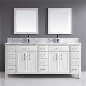"""Meuble-lavabo Calumet de Spa Bathe, 2 lavabos, 75"""", blanc"""