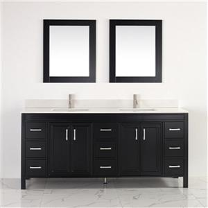 "Spa Bathe Cora Bathroom Vanity - 2 Sinks - 75"" - Espresso"