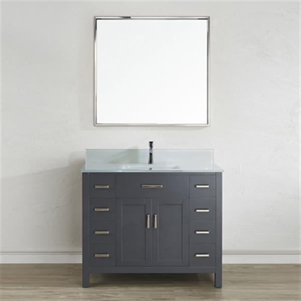 Spa Bathe Kenzie 42-in Single Sink Vanity with Glass Top,KZ4