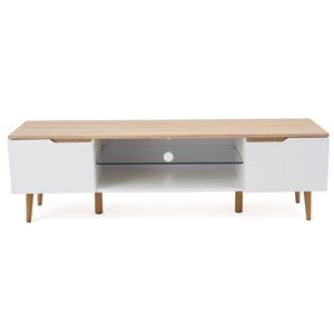 Noble House Rowan Two-Toned TV Stand with Glass Shelf - Oak and Matte White