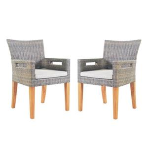 Outdoor Interiors 30525 Wicker and Eucalyptus Outdoor Arm Ch