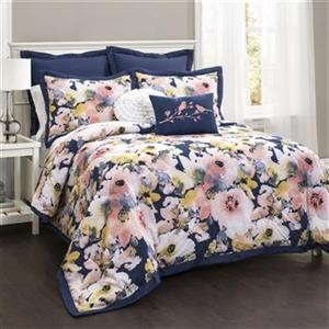 Lush Decor Floral Watercolor 7-Piece Comforter Set,16T000749