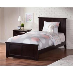 Atlantic Furniture Madison Twin XL Traditional Bed with Matching Foot Board in Espresso