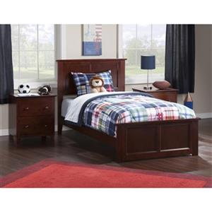 Atlantic Furniture Madison Twin XL Traditional Bed with Matching Foot Board in Walnut