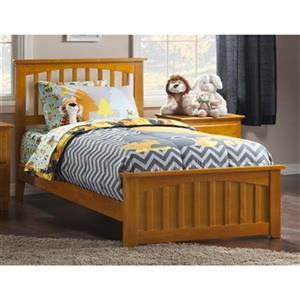 Atlantic Furniture Mission Twin XL Traditional Bed with Matching Foot Board in Caramel