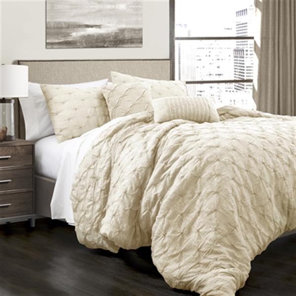 Lush Decor Ravello Pintuck 5-Piece Comforter Set,16T001141