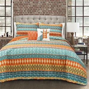 Lush Decor 5-Piece Valerie Stripe Quilt Set,16T001380