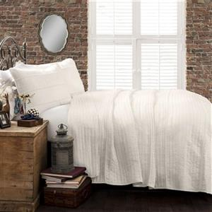 Lush Decor Pom Pom Stripe Quilt White 3-Piece Set,16T001692