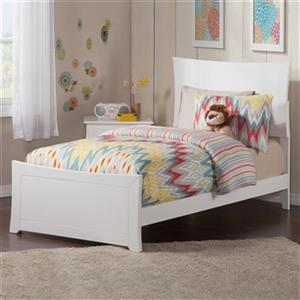 Atlantic Furniture Metro Twin Traditional Bed with Matching Foot Board in White
