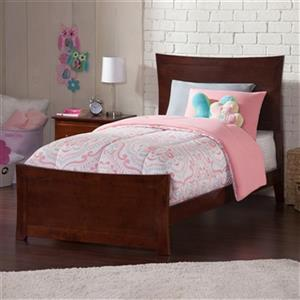 Atlantic Furniture Metro Twin Traditional Bed with Matching Foot Board in Walnut