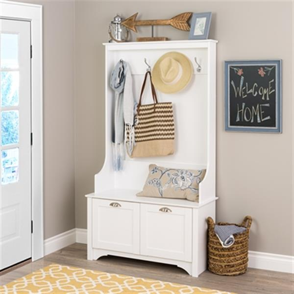 """Wide Hall Tree with 2 Doors - White - 38"""" x 68"""""""