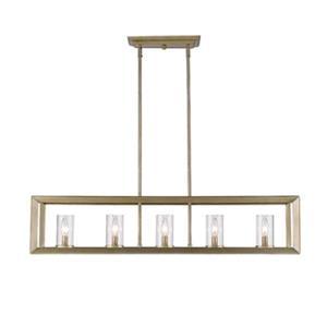 Golden Lighting 2073-LP WG-CLR 5 Light Linear Pendant (White