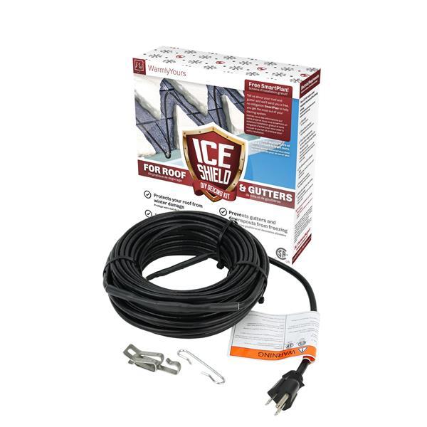 Câble de dégivrage de toiture et gouttière,  80', 5 W/pied
