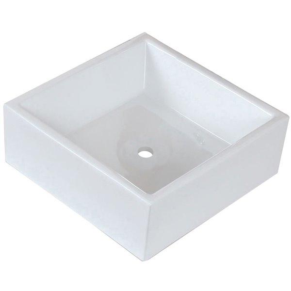 """Vasque avec trop-plein, 14,75"""", céramique, blanc"""