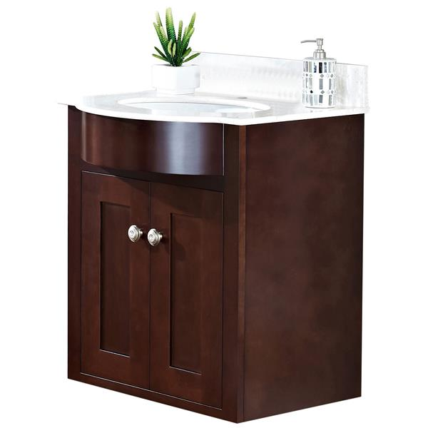 "Tiffany Vanity Set  - Single Sink - 25.5"" - Brown"