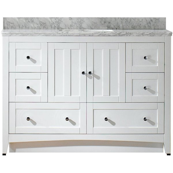 "Shaker Vanity Set  - Single Sink - 47.5"" - White"
