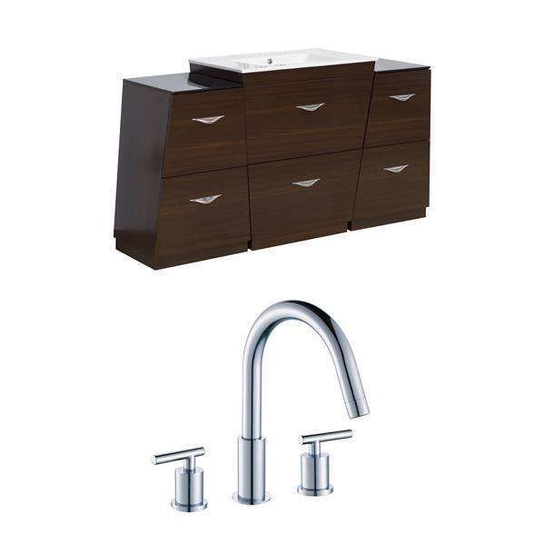 """Vee Vanity Set  - Single Sink - 56"""" - Brown"""