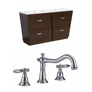 "American Imaginations Vee Vanity Set  - Double Sink - 59"" - Brown"