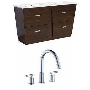"American Imaginations Vee Vanity Set  - Double Sink - 48"" - Brown"