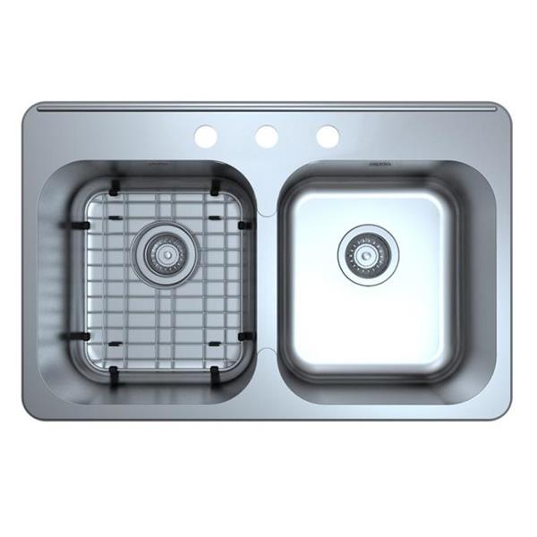 Ancona Capri Drop-in Double Bowl Kitchen Sink - 32 ""