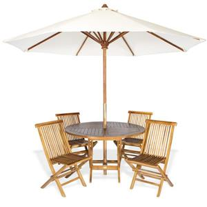 All Things Cedar Round Table, Chairs and white Umbrella - 6 Pieces