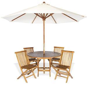 Ensemble de table ronde, chaises et parasol blanc, 6 pièces