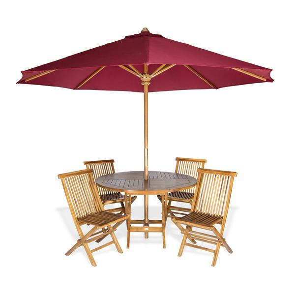 Ensemble de table ronde, chaises et parasol, Rouge, 6 pièces