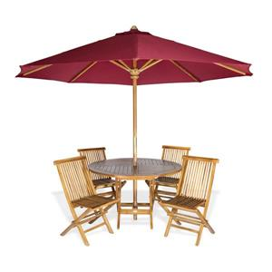 Round Table, chairs and Red Umbrella - 6 Pieces