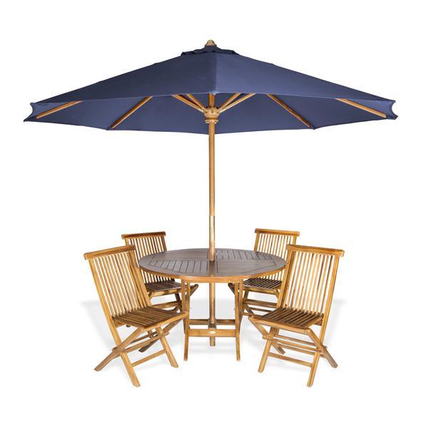 Ensemble de table ronde, chaises et parasol , 6 pièces