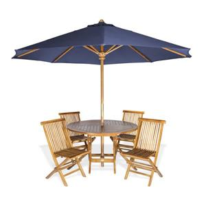 All Things Cedar Round Table with Umbrella - 6 Pieces