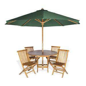 All Things Cedar Round Table, chairs and green Umbrella - 6 Pieces