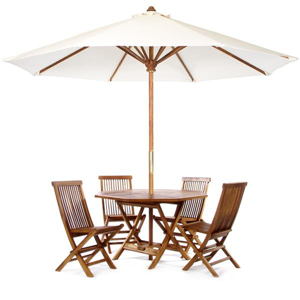 All Things Cedar Octoagon Table with Umbrella - 6 Pieces