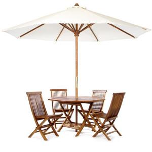 Octoagon Table with Umbrella - 6 Pieces