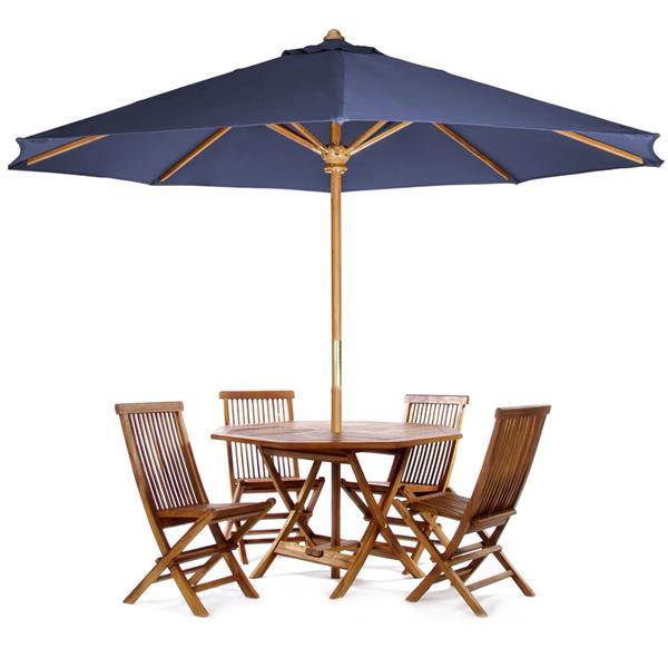 Ensemble de table octagonale, chaises  et parasol bleu