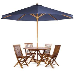All Things Cedar Octoagon Table, Chairs and Blue Umbrella - 6 Pieces