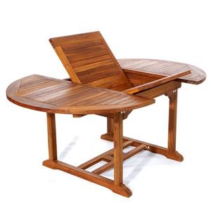 Teak Oval Folding Chair Set - 5 Pieces