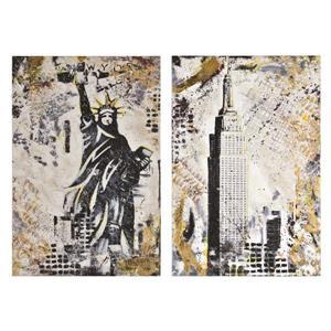 """Ornement mural Gotham, 37"""" x 25"""", toile imprimée, 2 pièces"""