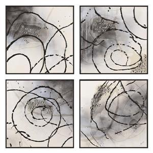 """Ornement mural Bevan, 25"""" x 25"""", toile, noir, 4 pièces"""