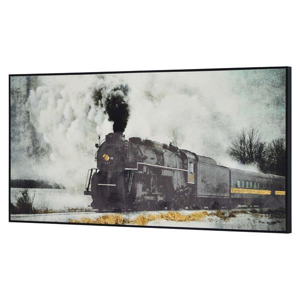 """Ornement mural Fisher, 30"""" x 60"""", toile imprimée, noir"""