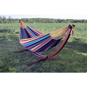 Vivere Double Cotton Hammock with Pine 8ft Stand - Tropical