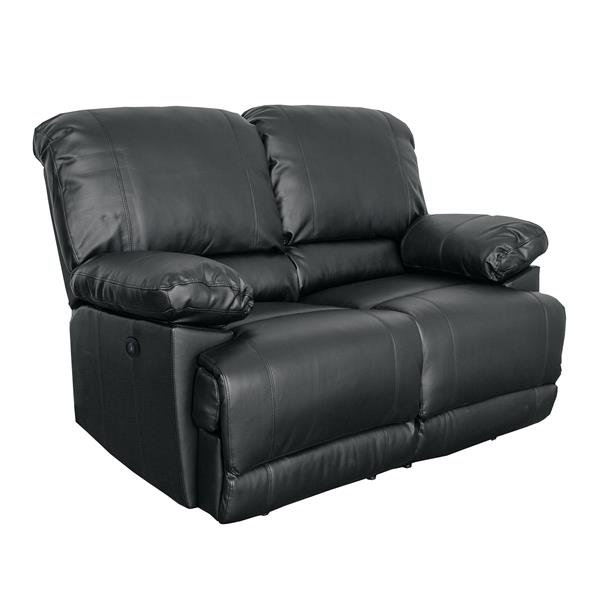 Bonded Leather Reclining Sofa Set - 2 Pieces - Black