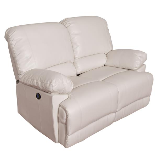 Corliving Causeuse Inclinable Electrique En Cuir Reconstitue Blanc