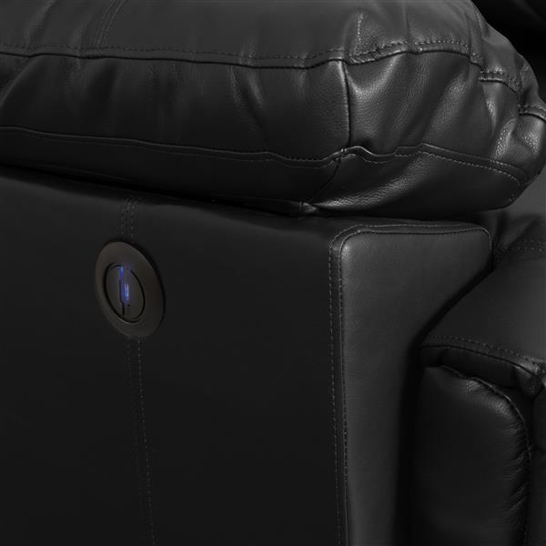 Causeuse inclinable électrique en cuir reconstitué, noir