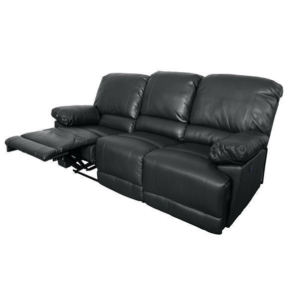 Sofa inclinable électrique en cuir reconstitué, noir