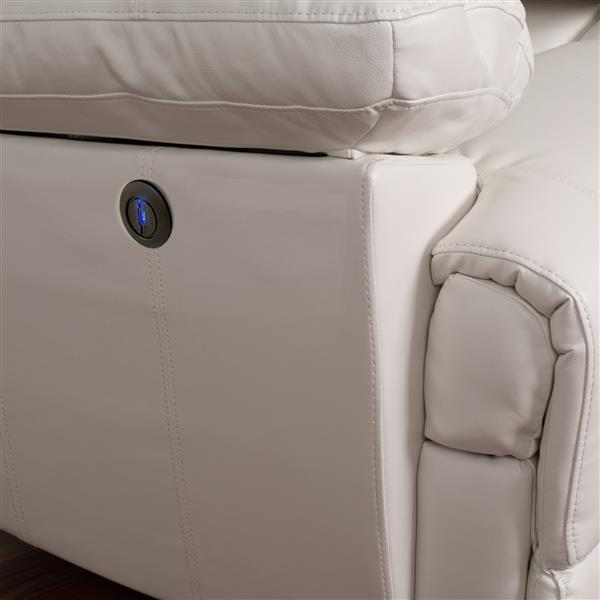 CorLiving Leather Recliner with USB Port - White