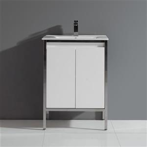 Adriana Single Sink White Vanity with Top - 24''