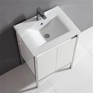 Meuble de salle de bain blanc, Adriana, 24''